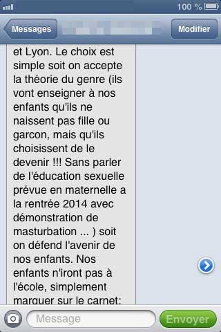 Capture d'écran du sms