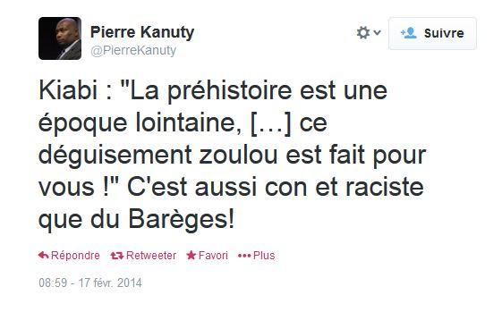 Le conseiller régional Pierre Kanuty s'insurge contre le déguisement zoulou de Kiabi. © Capture d'écran Twitter DR