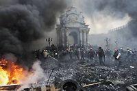 La place de l'Indépendance à Kiev, jeudi dernier. ©Bulent Kilic / AFP