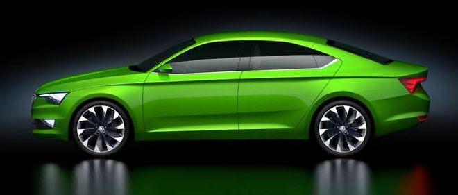 """Le concept Vision C préfigure ce que pourrait être une version """"coupé 5 portes"""" de la future Superb, attendue pour le premier semestre 2015."""
