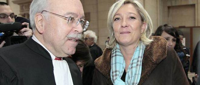Maître Wallerand de Saint-Just, avocat du FN, aux côtés de Marine Le Pen en décembre 2010.