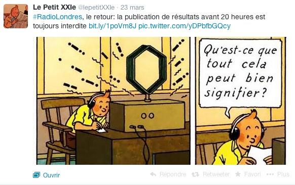 Tintin et Radio Londres ©  Le Petit XXIe