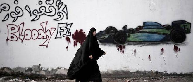 À l'image de ce graffiti dans le sud de Manama, les manifestations vont redoubler ce week-end à Bahreïn à l'occasion du Grand Prix.