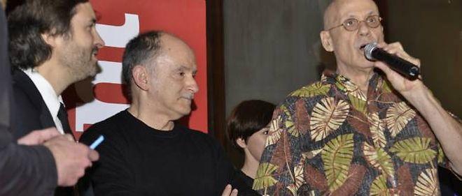 Christophe Ono-Dit-Biot, Hervé Le Corre et James Ellroy, vendredi soir à Lyon.