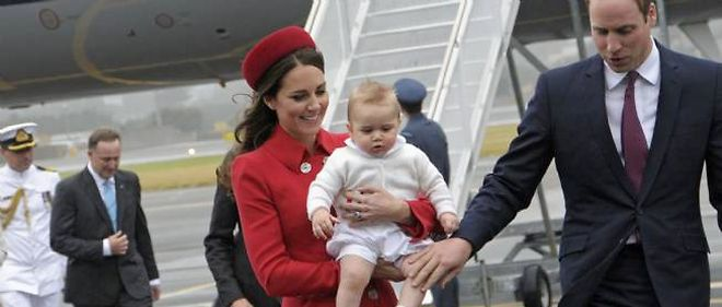 Kate, William et George a leur arrivee en Nouvelle-Zelande.