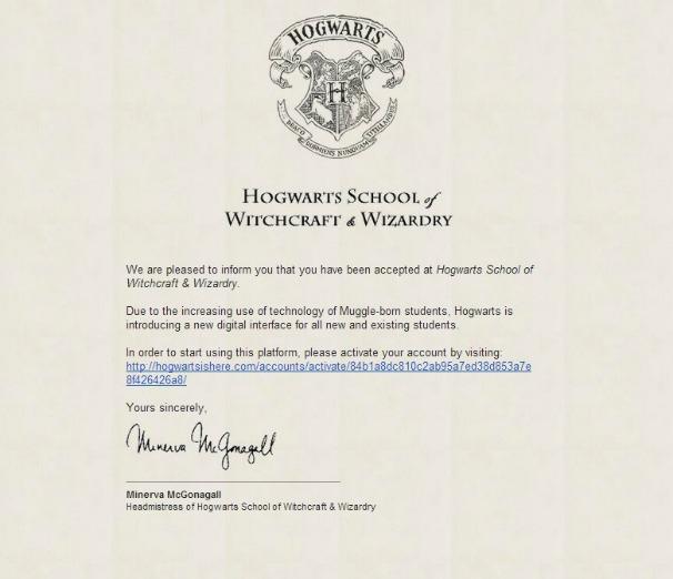 Lettre d'admission à Poudlard délivrée par le site