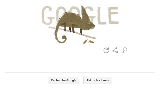 Doodle consacré au caméléon casqué, mardi 22 avril 2014.