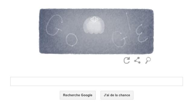 Doodle rendant hommage à la méduse bleue, mardi 22 avril 2014.