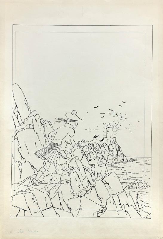 """Dessin pour la couverture """"grande image"""" de L'Ile noire, 1942, par Hergé. ©  Hergé Moulinsart 2014"""