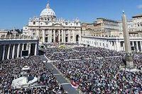 La place Saint-Pierre, à Rome, à l'occasion de la messe de Pâques, le 20 avril dernier. ©Giuseppe Ciccia / AFP