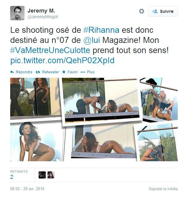 """Les clichés de la séance photo de Rihanna pour le magazine """"Lui"""". ©  DR / Capture d'écran Twitter"""