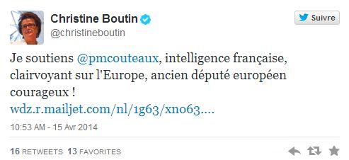 Le tweet de Christine Boutin à l'attention de Pierre-Marie Coûteaux. ©  DR / Capture d'écran Twitter