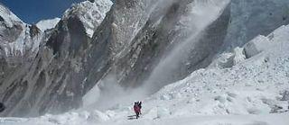 La sortie de l'Ice Fall, dans l'Himalaya. ©Nathalie Lamoureux