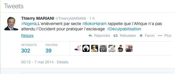 Le tweet du député UMP Thiery Mariani