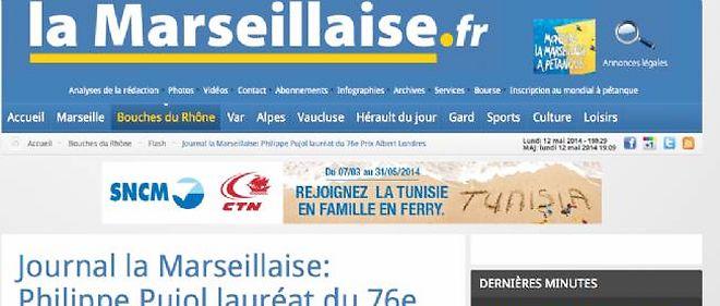 """Capture d'écran de la page d'accueil du site du quotidien régional """"La Marseillaise"""". Photo d'illustration."""