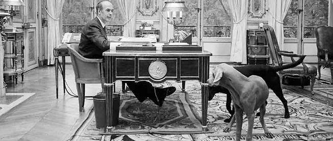 VGE avec ses deux chiens dans son bureau de l'Élysée le 23 octobre 1974. Le jeune - 48 ans - entend dépoussiérer l'image présidentielle
