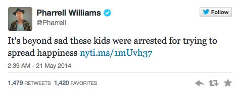 Pharrell Williams faisant part de sa tristesse sur son compte Twitter © @Pharrell Twitter