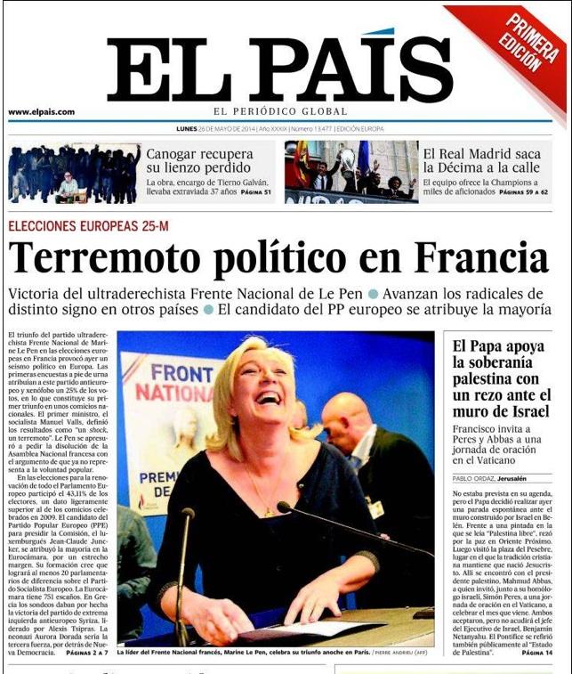 """La une de El Pais sur le """"tremblement de terre politique"""" que conaît la France ©  Capture d'écran"""