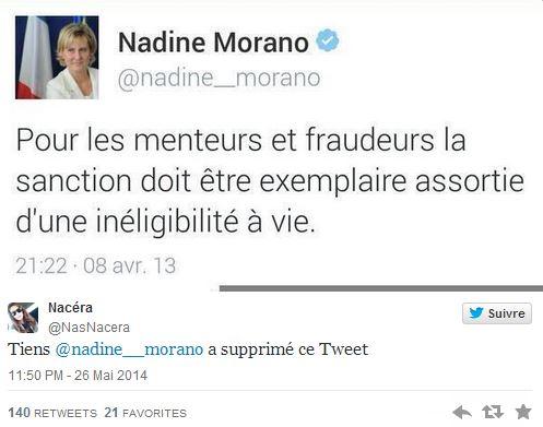 Le tweet supprimé par Nadine Morano à la suite de l'affaire Bygmalion. ©  DR / Capture d'écran Twitter @NasNacera
