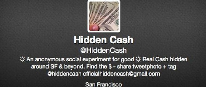 Capture d'ecran du compte Twitter de @HiddenCash.
