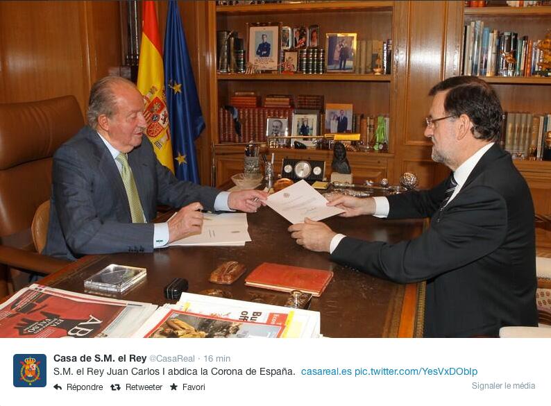 Le roi d'Espagne Juan Carlos a remis sa démission à Mariano Rajoy lundi matin ©  Casa Real