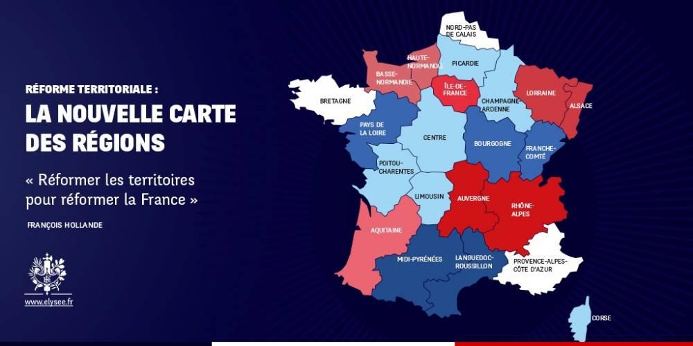 La carte des régions présentée par l'Élysée lundi soir