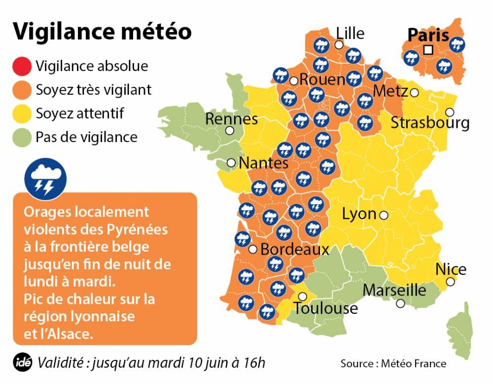 La carte de vigilance de Météo France à 17 heures lundi. ©  Idé