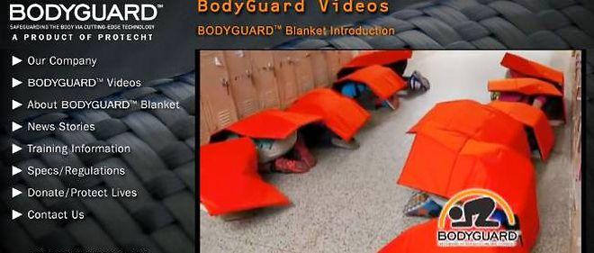 Capture d'écran du site internet de Bodyguard Blanket.