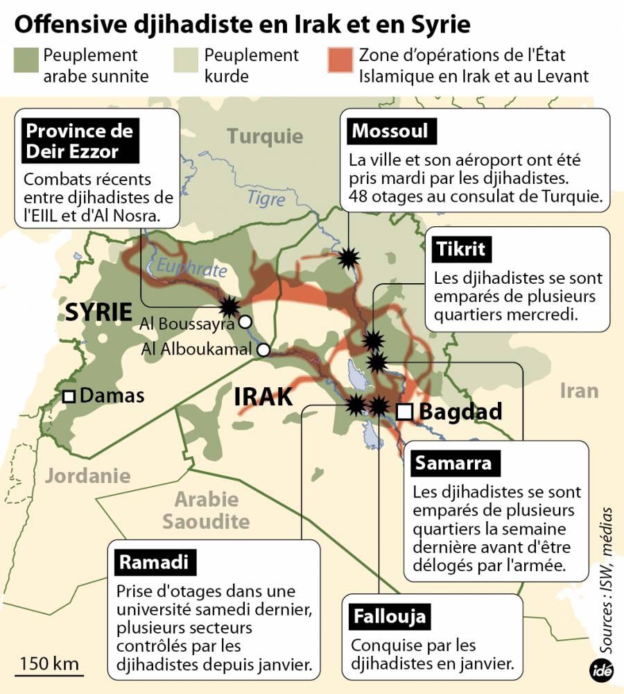 L'offensive djihadiste en Irak et en Syrie © IDE IDE