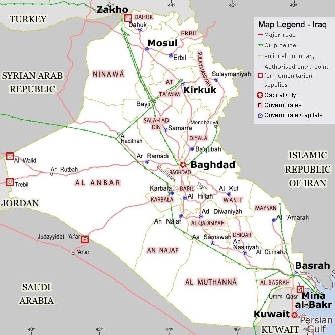 Carte des ressources et des oléoducs en Irak ©  Nations-Unis