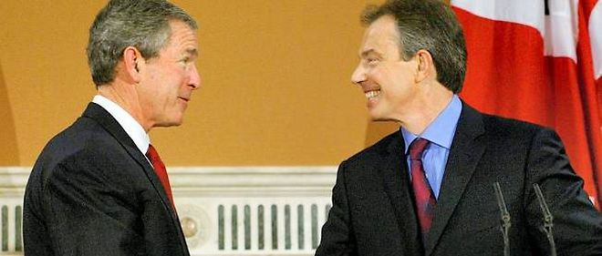 Tony Blair reçoit George Bush le 20 novembre 2003 à Londres.