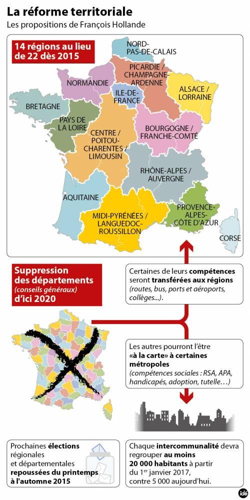 La carte des régions dessinée par François Hollande ©  Idé