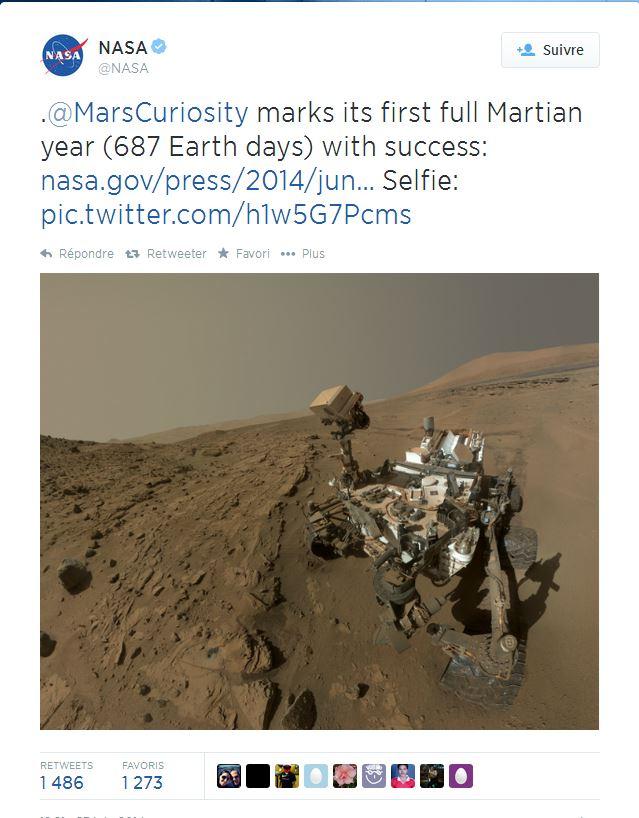 Tweet de la Nasa © NASA DR / Capture d'écran Twitter