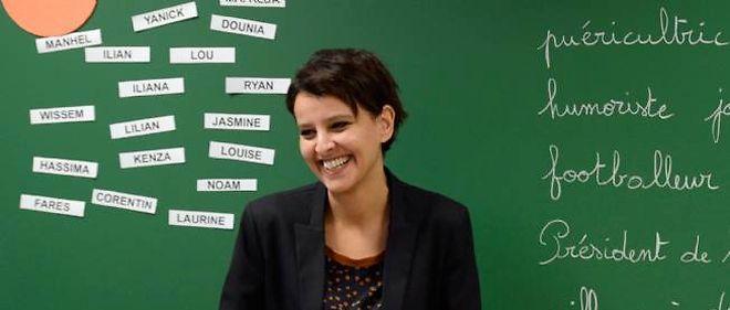 Najat Vallaud-Belkacem dans une école de Villeurbanne en janvier dernier.