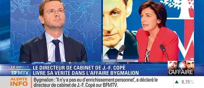 Le lundi 26 mai, sur le plateau de BFMTV, Jérôme Lavrilleux livre à Ruth Elkrief sa version de l'affaire Bymalion ©  Capture BFM TV
