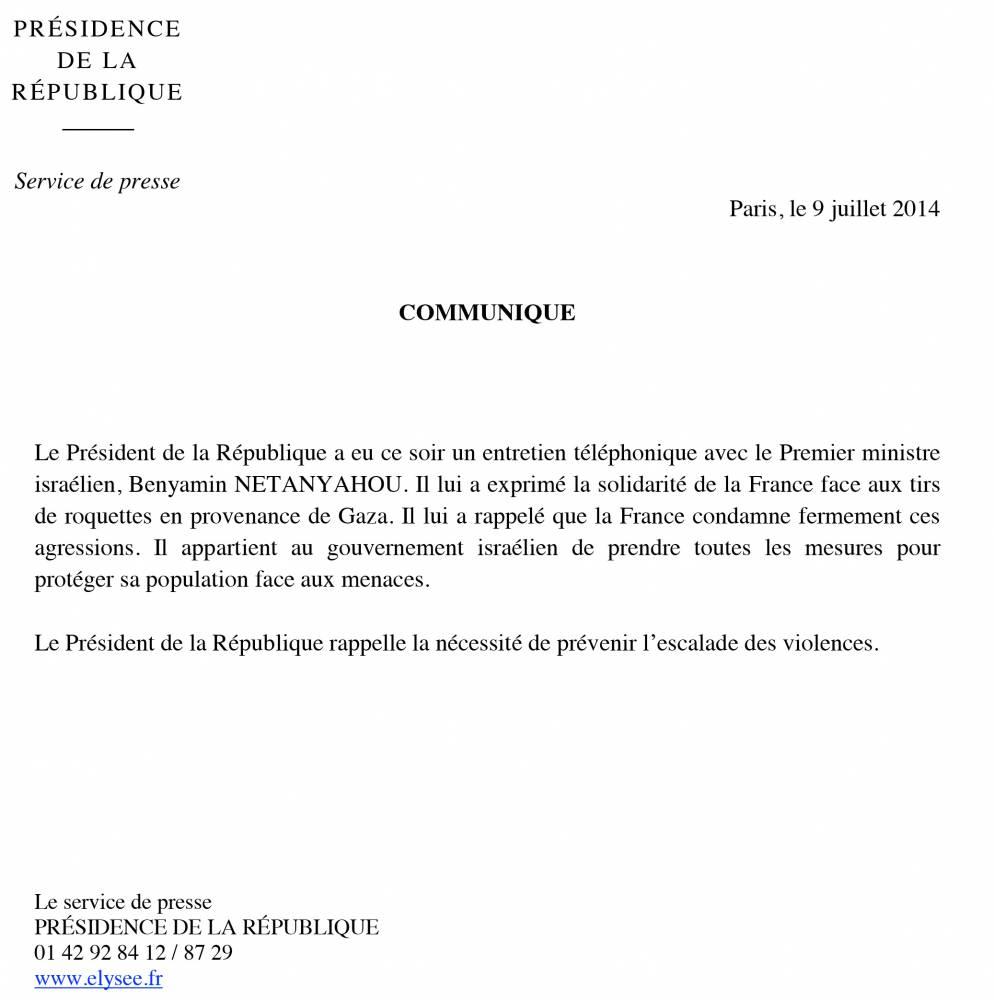 Le premier communiqué de François Hollande sur la situation au Proche-Orient ©  DR