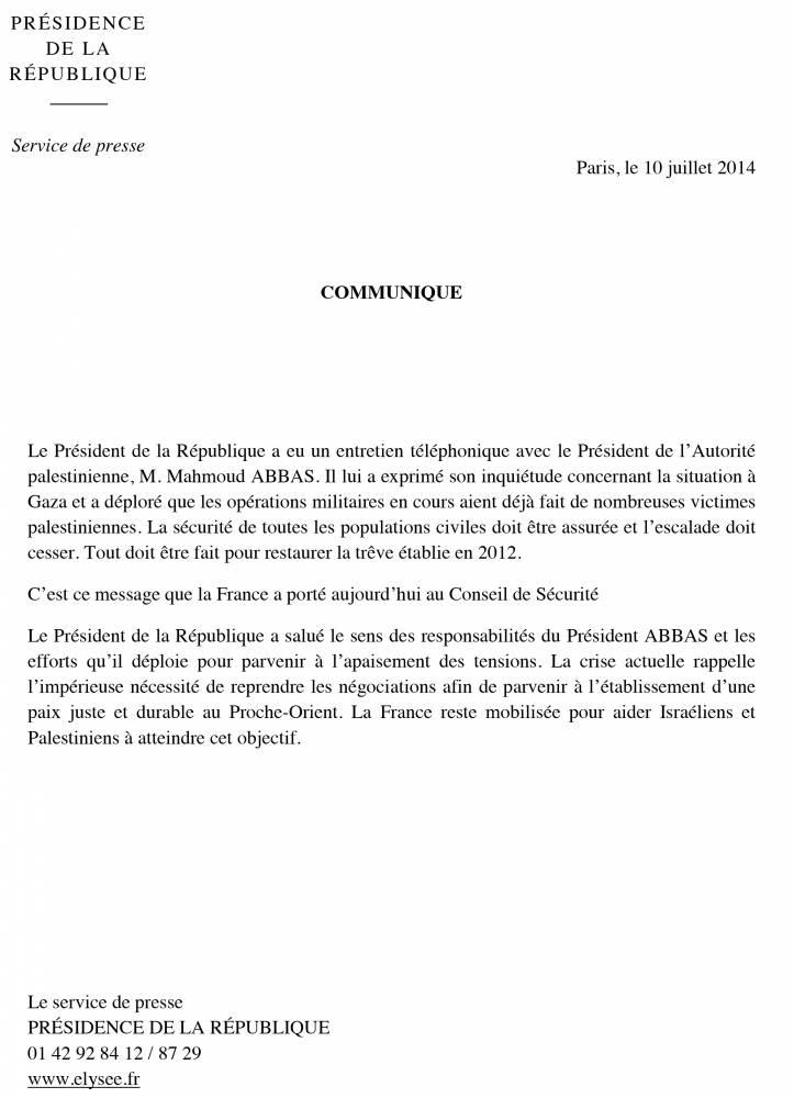 Le second communiqué de François Hollande sur la situation au Proche-Orient ©  DR