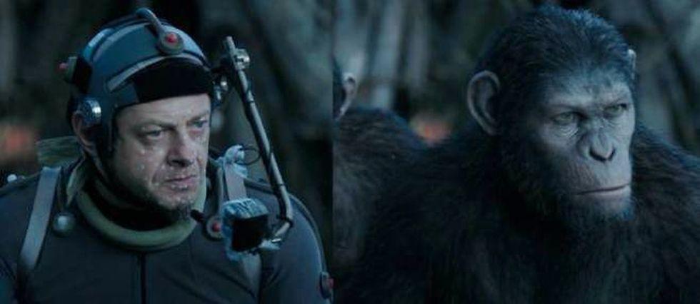 """Grâce aux miracles de la performance capture, Andy Serkis se transforme en César, le héros de """"La Planète des singes""""."""