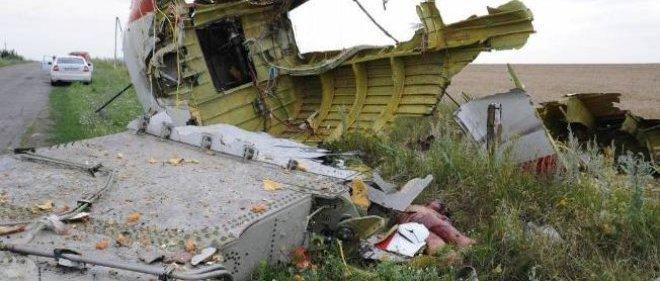 Des débris de l'avion qui s'est écrasé, jeudi, à l'est de l'Ukraine.