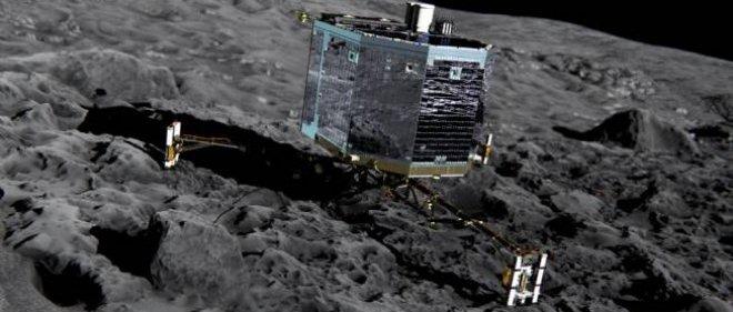 """Représentation artistique de l'atterrisseur Philae arrimé à la comète """"Churi""""."""