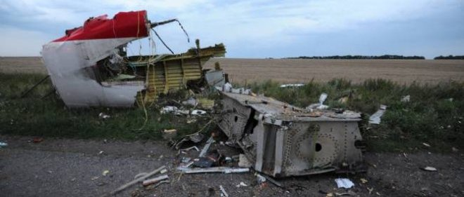 Des bouts de la carcasse de l'avion qui s'est écrasé en Ukraine.