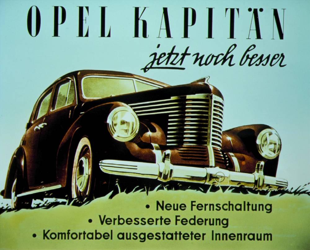 En 1948, l'inspiration venait des Etats-Unis avec cette Kapitan, une sorte de Chevrolet germanique ©  Opel