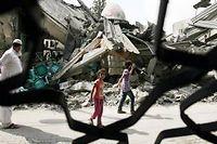 Mardi matin, un raid israélien sur la bande de gaza a détruit la mosquée de Farouq, à Rafah. ©Eyad Al-Baba / Anadolu Agency / AFP