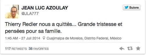 Le tweet de Jean-Luc Azoulay © Capture d'écran Twitter