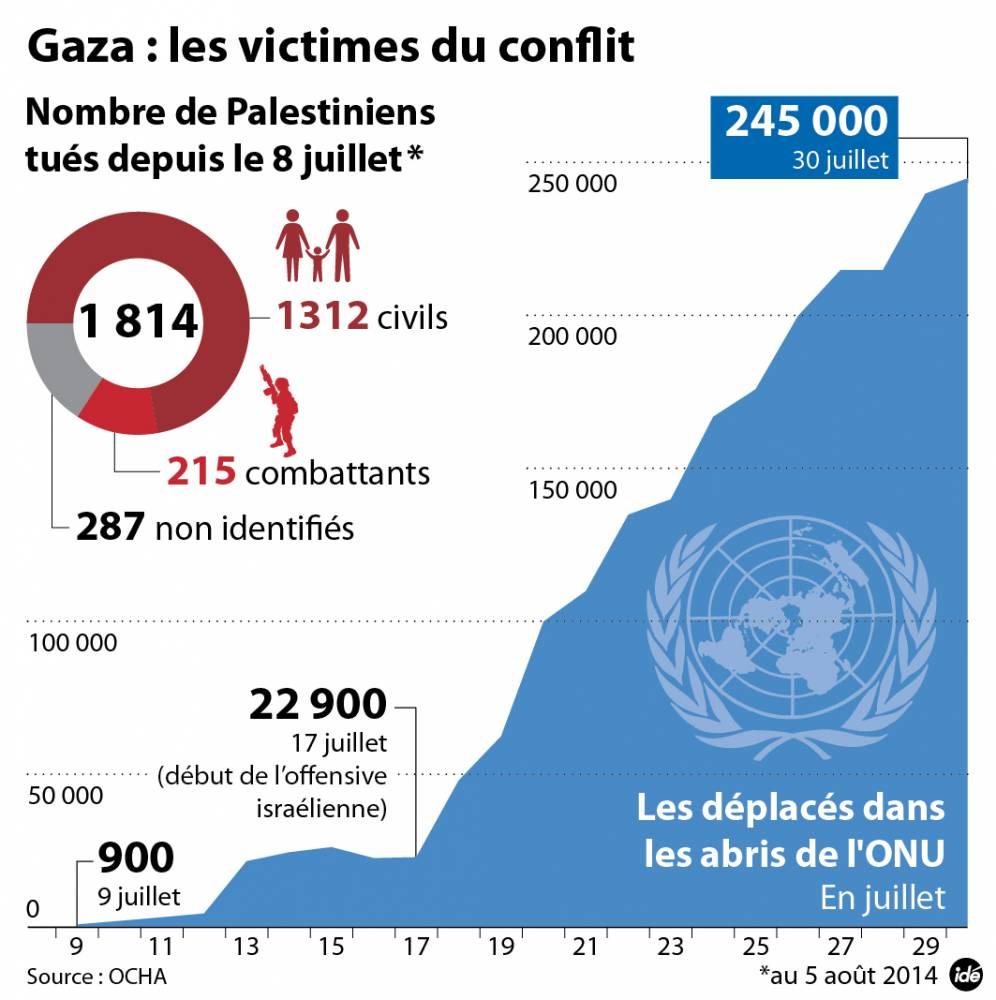 Gaza : les victimes du conflit au 5 août ©  Idé