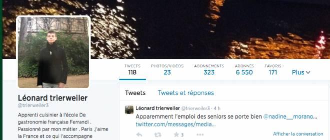 Léonard Trierweiler publie de nombreux commentaires sur Twitter, notamment pour attaquer des membres de l'UMP, comme Nadine Morano.