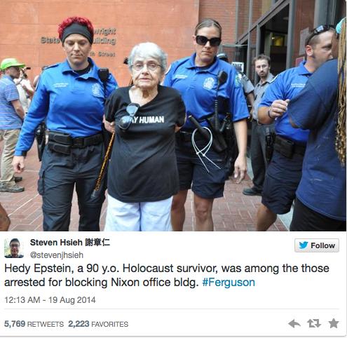 Hedy Epstein arrêtée en marge d'une manifestation ©  Capture d'écran