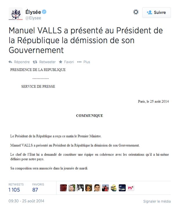Le compte Twitter de l'Élysée annonce que Manuel Valls a présenté démission.