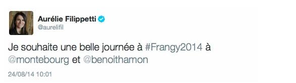 Le tweet de soutien d'Aurélie Filippetti à Arnaud Montebourg