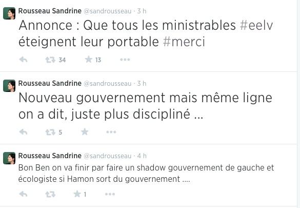 Les tweets de sandrine Rousseau (EELV)